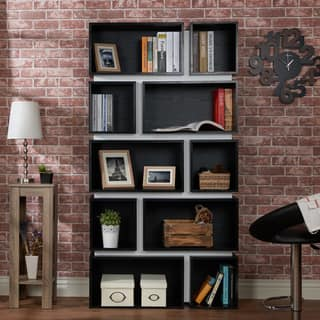 Furniture of America Pella Contemporary 2-tone 10-shelf Bookcase|https://ak1.ostkcdn.com/images/products/11862037/P18761969.jpg?impolicy=medium