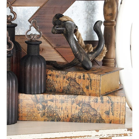 Wood Faux Leather Book Box (Set of 3)