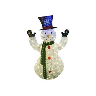 50-inch Tall White Snowman Decor with 100 Plug-in LED Lights