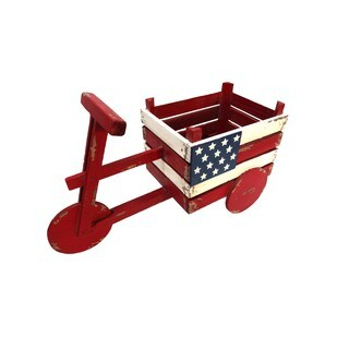Alpine American Flag Tricycle Wood Planter, 11 Inch Tall