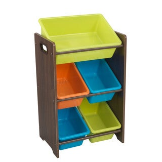 Kid Kraft Multi-color Polyester Printed Microfiber 5 Bin Storage Unit