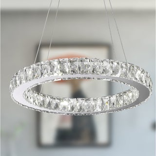 Galaxy 11-light LED Chrome Finish and Clear Crystal Circular Ring Chandelier