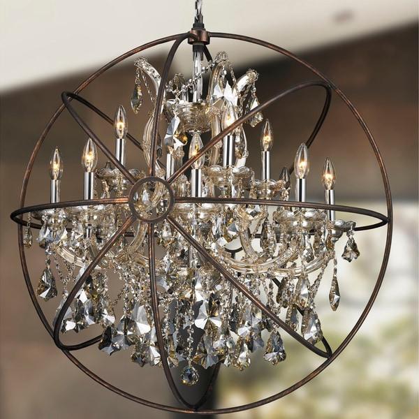 Shop foucaults orb chandelier 13 light chrome finish golden teak foucaultx27s orb chandelier 13 light chrome finish golden teak crystal flemish aloadofball Images