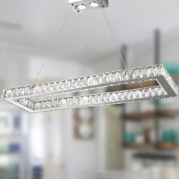Galaxy 16 light led chrome finish and clear crystal rectangle galaxy 16 light led chrome finish and clear crystal rectangle chandelier aloadofball Choice Image
