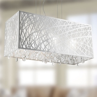 High Gloss Modern 6-light Halogen Chrome Finish Rectangle Drum Shade with Clear Crystal Chandelier