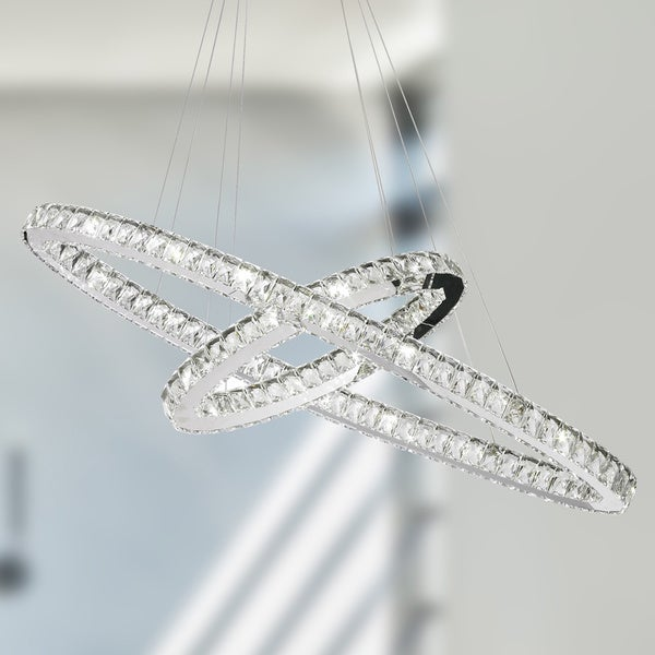 Galaxy Light Led Chrome Clear Crystal Modern Interlocking Ring