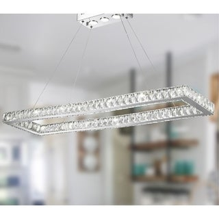 Galaxy 19 LED-light Chrome Finish and Clear Crystal Rectangle Modern Chandelier