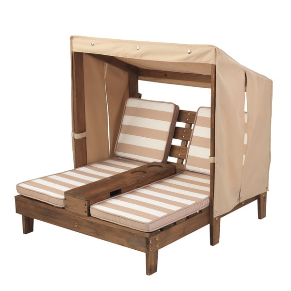 KidKraft Striped Double Chaise Lounge With Cup Holders