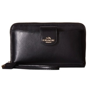 Coach Smooth Leather Black Phone Wallet