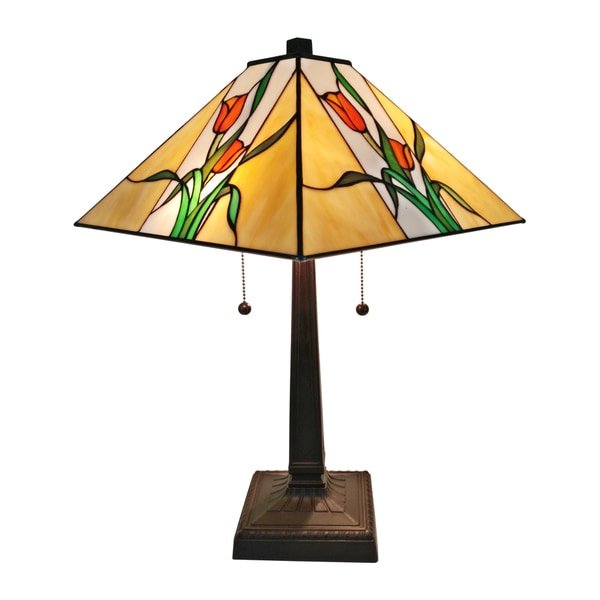 Amora Lighting AM200TL14 Tiffany-style 21-inch High 2-light Floral Mission Table Lamp