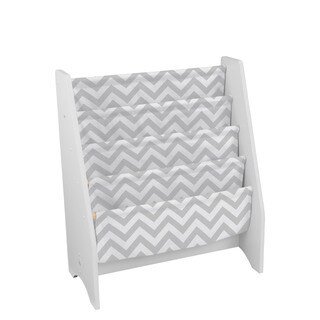 Kid Kraft Grey Pattern White Canvas Sling Bookshelf
