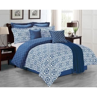 Kendrick Navy 8-piece Comforter Set