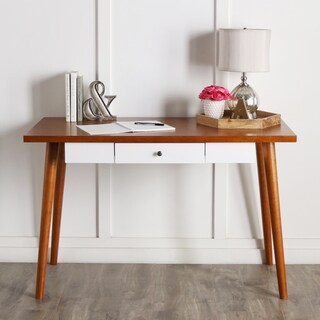 Mid-Century brown and white Wood 48-inch Computer Desk