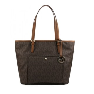 Michael Kors Jet Set Signature Brown PVC Large Snap Pocket Tote Bag
