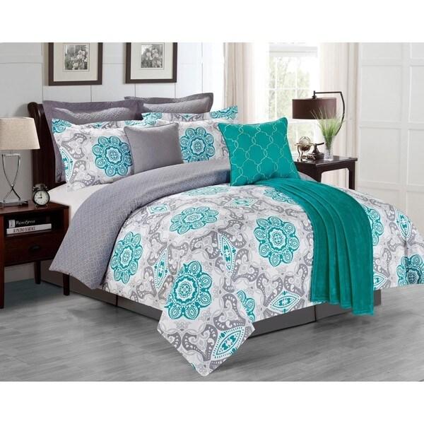 Sunrise Teal 8-piece Comforter Set