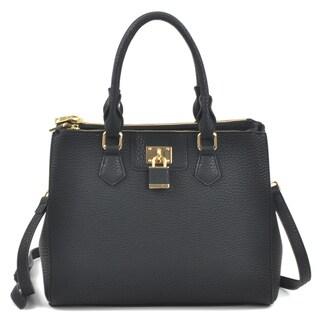 Dasein Padlock Double Zipper Satchel Handbag