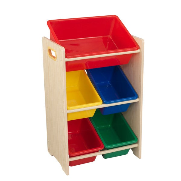 Elegant KidKraft Natural And Primary Polyester 5 Bin Storage Unit