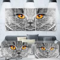 Designart 'Grey Cat' Metal Wall Art