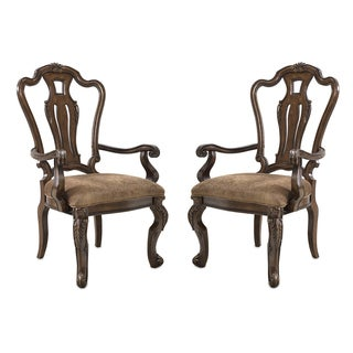 Estella Brown Chestnut and Linen Arm Chair (Pack of 2)