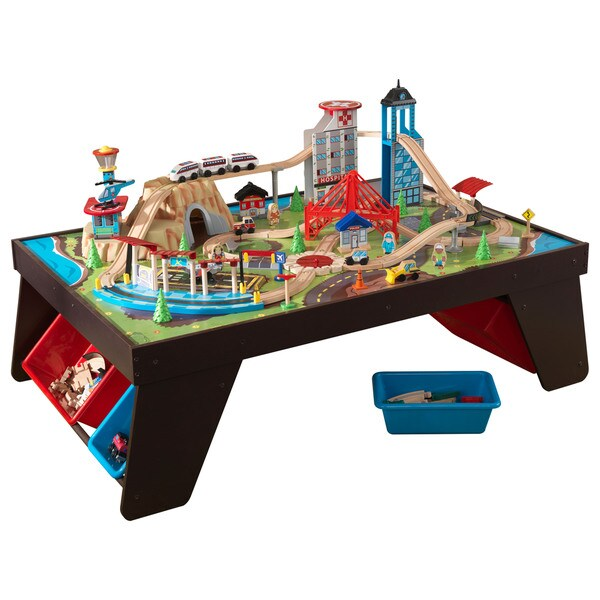 Shop Kidkraft Aero City Train Set And Table Green Brown