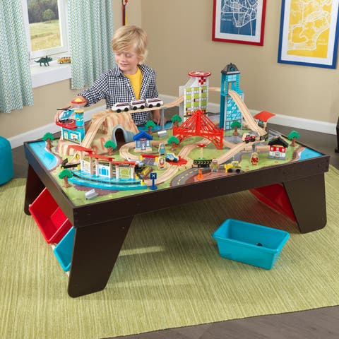 KidKraft Aero City Train Set and Table - Green/brown