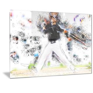 Designart 'Baseball Home Run Metal Wall Art