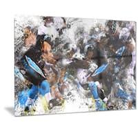 Designart 'Football in Action Metal Wall Art
