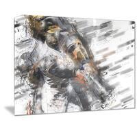 Designart 'Baseball Power Slam Metal Wall Art