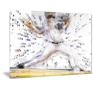 Designart 'Baseball Pitcher Metal Wall Art