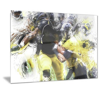 Designart 'Football Ball in Play Metal Wall Art