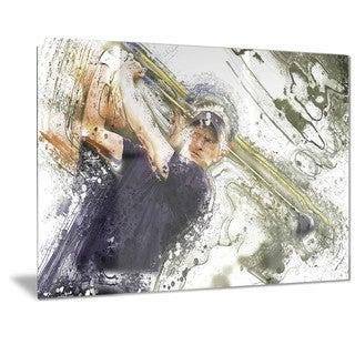 Designart 'Baseball Batter Metal Wall Art