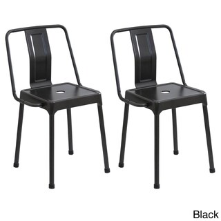LumiSource Carbon Black/Cappuccino/Red Metal Industrial-style Energy Chairs (Set of 2)