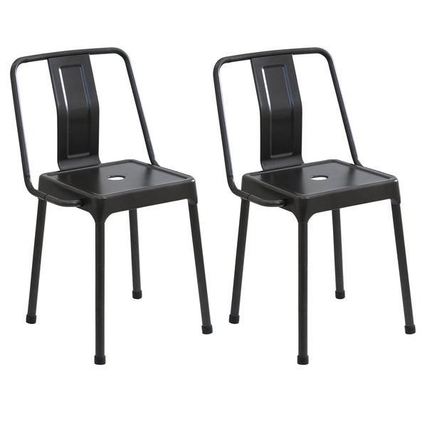 Good LumiSource Carbon Black/Cappuccino/Red Metal Industrial Style Energy Chairs  (Set Of