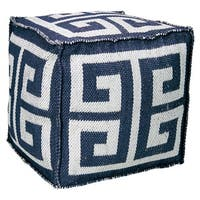 Mina Victory Indoor/Outdoor Greek Key Navy Cube (16-inch x 16-inch) by Nourison