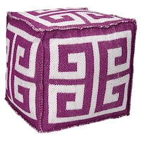 Mina Victory Indoor/Outdoor Greek Key Lilac Cubeby Nourison (16-Inch X 16-Inch)