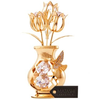 Tulip Vase With 24-karat Gold Bee Hummingbird Tabletop Ornament