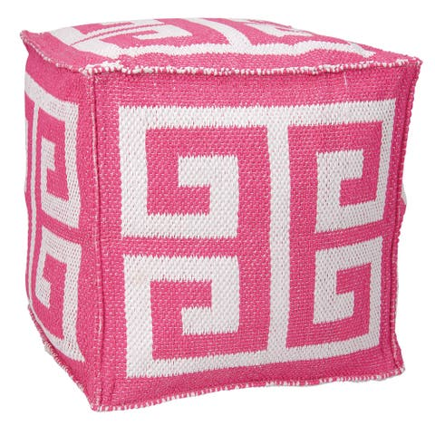 Mina Victory Indoor/Outdoor Greek Key Hot Pink Cube Ottoman by Nourison (16-Inch X 16-Inch)