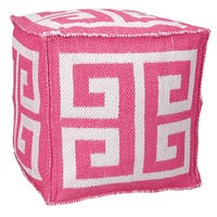 Mina Victory Indoor/Outdoor Greek Key Hot Pink Cubeby Nourison (16-Inch X 16-Inch)