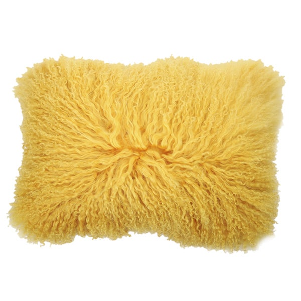 Yellow Rectangular Mongolian Lamb Fur Throw Pillow Free