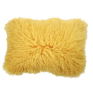 Yellow Rectangular Mongolian Lamb Fur Throw Pillow