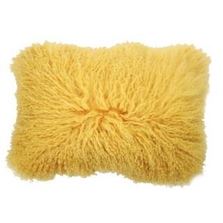 Yellow Rectangular Mongolian Lamb Fur Throw Pillow