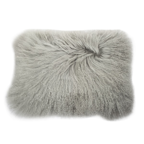 Shop Grey Mongolian Lamb Fur Rectangular Throw Pillow