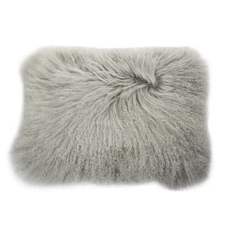 Grey Mongolian Lamb Faux-fur 20-inch x 14-inch Rectangular Throw Pillow