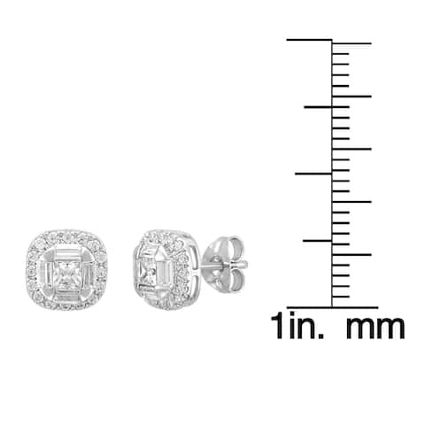 Unending Love 14-karat White Gold 3/4-carat TDW Princess- and Baguette-cut IJ, I2 Diamond Stud Earrings with Halo