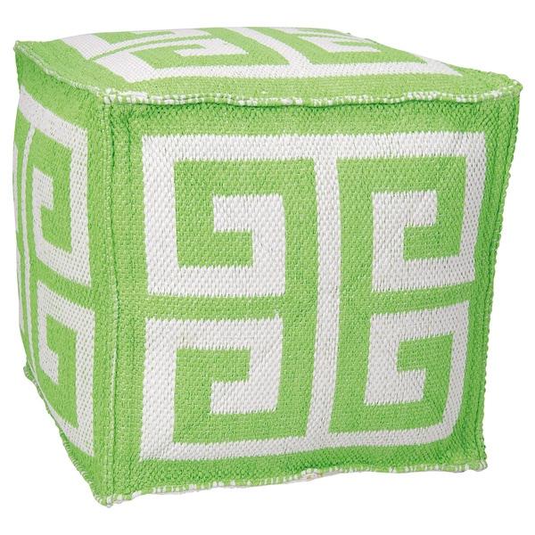 Mina Victory Indoor/Outdoor Greek Key Apple Green Cubeby Nourison (16-Inch X 16-Inch)