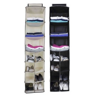 Sunbeam White/Black Fabric 11-shelf Hanging Closet Organizer for Accessories, Clothes and Shoe Storage