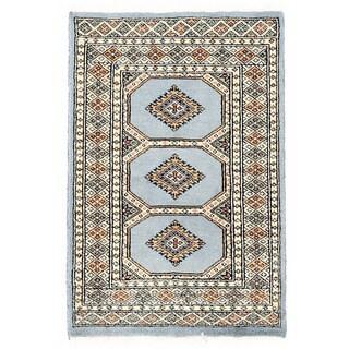 Herat Oriental Pakistani Hand-knotted Bokhara Light Gray/ Ivory Wool Rug (2' x 3'1)