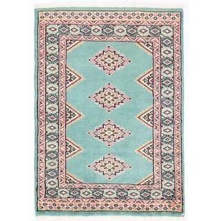 Herat Oriental Pakistani Hand-knotted Bokhara Light Blue/ Ivory Wool Rug (2' x 2'10)