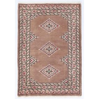 Herat Oriental Pakistani Hand-knotted Bokhara Brown/ Salmon Wool Rug (2' x 3')