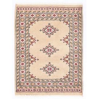 Herat Oriental Pakistani Hand-knotted Bokhara Beige/ Salmon Wool Rug (2'1 x 2'9)